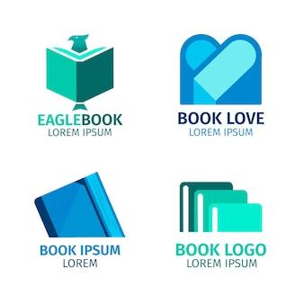 Boek logo pack plat ontwerp