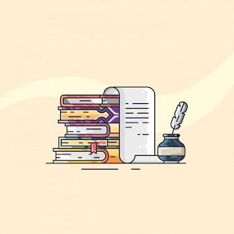 Boek magisch plat ontwerp ilustrations