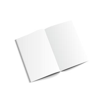 Boek met blanke pagina sjabloon in bovenaanzicht.