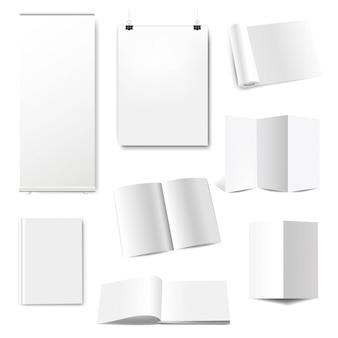 Boek met blanke pagina voorbladsjabloon met roll up banner geïsoleerd witte achtergrond