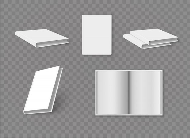 Boek met blanke pagina voorbladsjabloon op witte achtergrond met zachte schaduwen. vectorillustratie. realistisch boek.