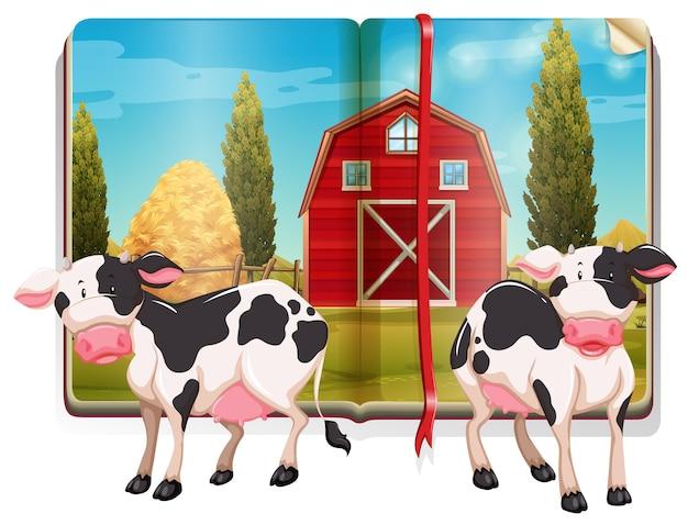 Boek met koeien op de boerderij