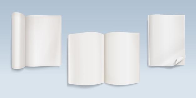 Boek met lege pagina's illustratie van laptop met blanco vellen papier en gebogen hoeken.