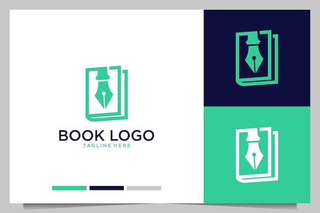 Boek met pen modern logo-ontwerp