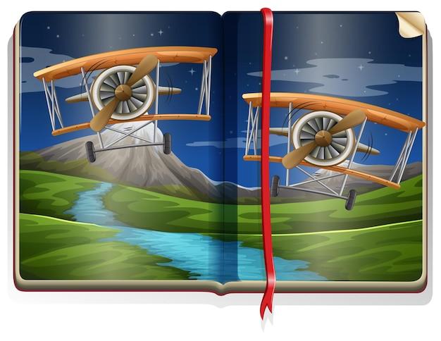Boek met scène van vliegtuigen die over de rivier vliegen