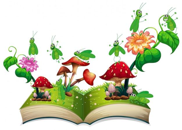 Boek met sprinkhaan en paddestoel