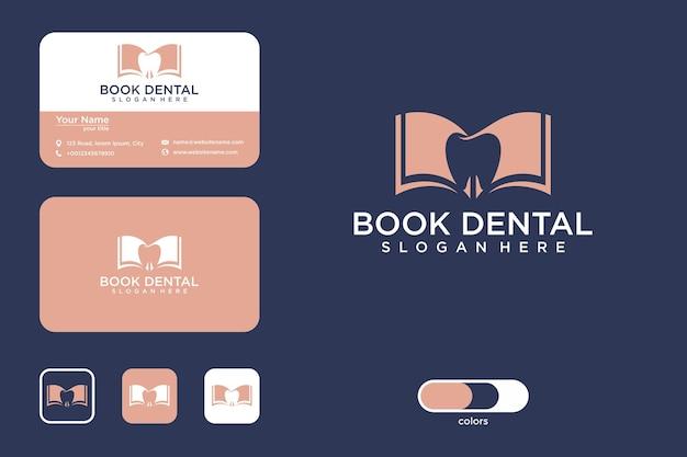 Boek met tandheelkundig logo-ontwerp en visitekaartje