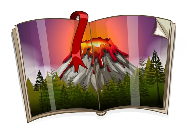 Boek met vulkaanscène