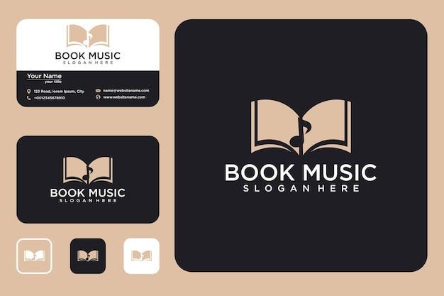 Boek muziek logo ontwerp en visitekaartje