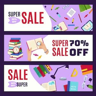 Boek notebook grote verkoop banner, sjabloon poster achtergrond instellen