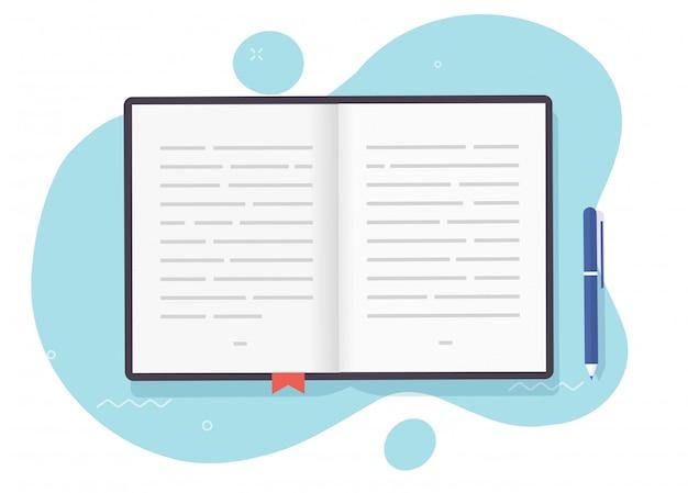 Boek open pagina's met tekst of leerboek papieren notitieblok met bladwijzer