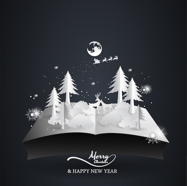 Boek open pop-rendier en de kerstman, kerstmis, gelukkig nieuwjaar