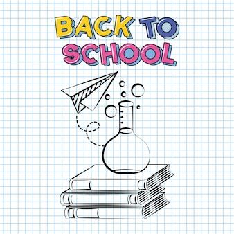 Boek, papieren vliegtuig, schoorsteen reageerbuis, terug naar school doodle getekend op een raster