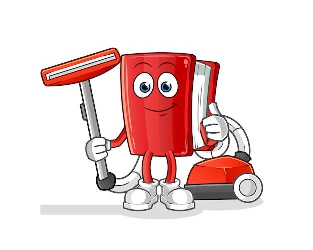 Boek schoon met een stofzuigerillustratie. karakter