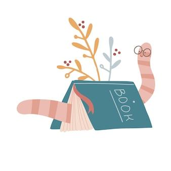 Boek staat als een tent met boekenwurm in glazen erin. hand getekend gekleurde trendy platte vectorillustratie.