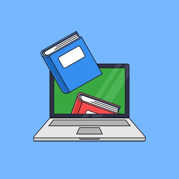 Boek uit laptop scherm voor online scholing concept vectorillustratie