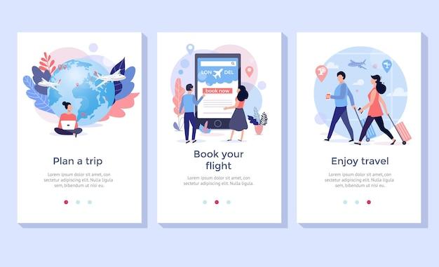 Boek uw vlucht online illustratieset, perfect voor banner, mobiele app, bestemmingspagina