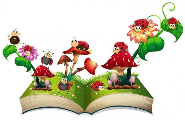 Boek van lieveheersbeestjes en paddestoelen