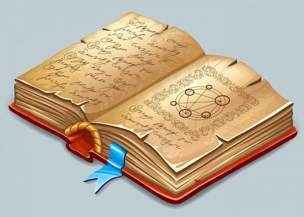 Boek van magische spreuken en hekserij.