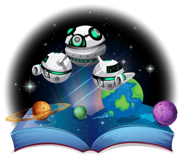 Boek van ruimteschip dat in de melkweg vliegt