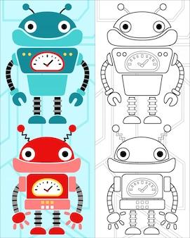 Boek vector met robots cartoon kleuren