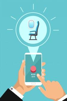 Boek vliegtuigstoel online via app. vector hand met telefoon en druk op een knop. luchtvaartmaatschappij cabine stoel telefonisch kopen.