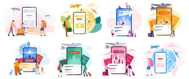 Boek vlucht online concept. idee van reizen en toerisme. reis online plannen. koop een kaartje in het vliegtuig in de app. set van illustratie in cartoon-stijl