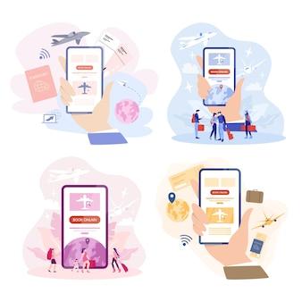 Boek vlucht online concept. idee van reizen en toerisme. reis online plannen. koop een kaartje in het vliegtuig in de app. set van illustratie