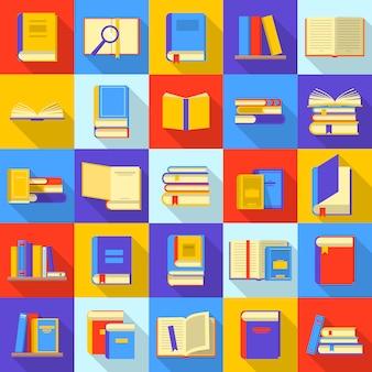 Boeken bibliotheek onderwijs pictogrammen instellen. vlakke afbeelding van 25 boeken bibliotheek onderwijs iconen voor web