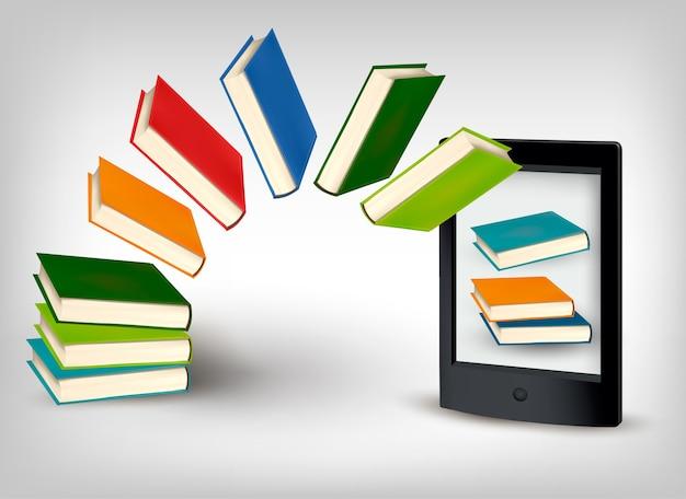 Boeken die in een tablet vliegen.