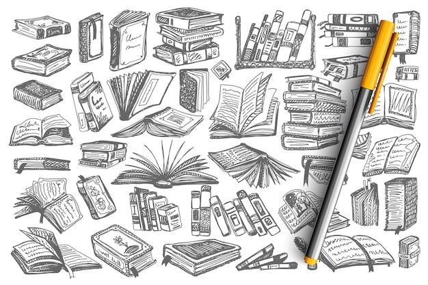 Boeken doodle set. verzameling boekomslagen en pagina's van de educatieve universiteit van de bibliotheek