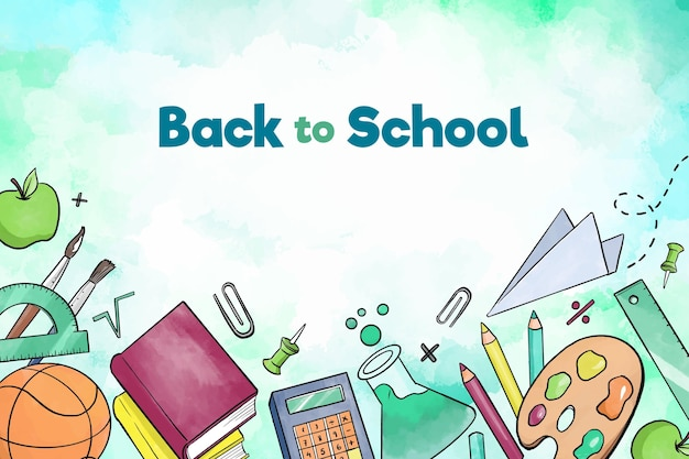 Boeken en accessoires terug naar school achtergrond