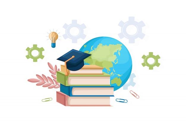 Boeken en afstuderen hoed vlakke stijl