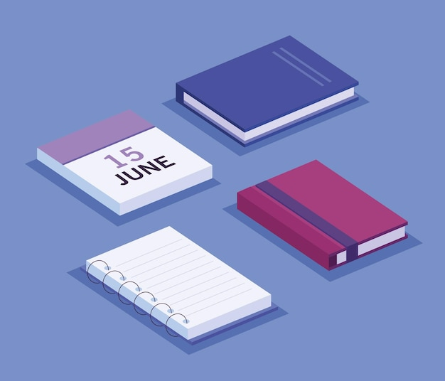 Boeken en agenda isometrische werkruimte decorontwerp pictogrammen illustratie