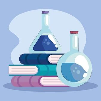 Boeken en buis testlaboratorium pictogrammen illustratie