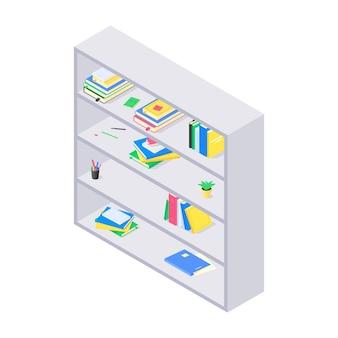 Boeken en kanselarij op grijze houten boekenplank in isometrisch