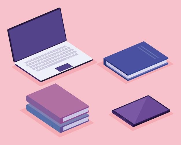 Boeken en laptop isometrische werkruimte decorontwerp pictogrammen illustratie