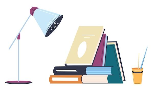 Boeken en leerboeken met moderne lamp, potloden en pennen in kopjes. kantoor- of schoolbenodigdheden, publicaties voor studenten en kinderen. studeren en leren, ontwikkeling van vaardigheden, vector in vlakke stijl