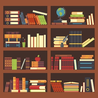 Boeken in bibliotheekboekenkast.