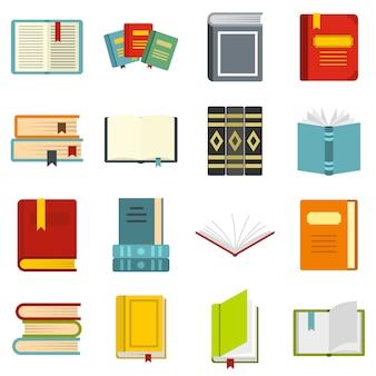 Boeken instellen platte pictogrammen
