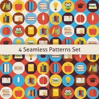 Boeken lezen en kennispatronen instellen met kleurrijke cirkels. vlakke stijl vector 4 naadloze textuurachtergronden. terug naar school. verzameling van sjablonen voor wetenschap en onderwijs.