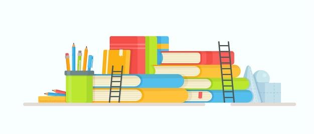 Boeken lezen. illustratie van de voorbereiding op examens. huiswerk aan het maken. lessen online.