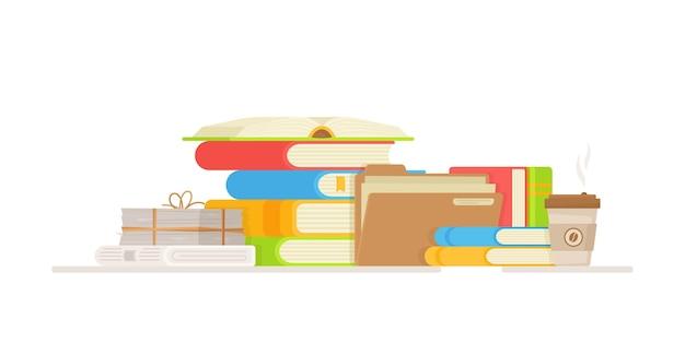 Boeken lezen in de bibliotheek. illustratie van een student die zich voorbereidt op examens. set boekpictogrammen in vlakke stijl ontwerp. studie.