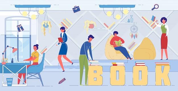 Boeken lezen, zelfonderwijs word concept banner