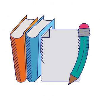 Boeken met blad en pen blauwe lijnen