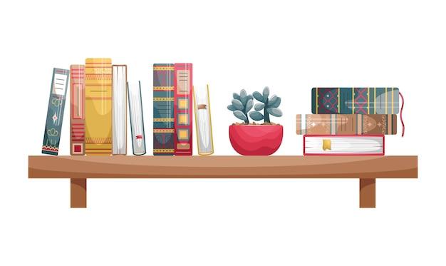 Boeken met omslagen in retrostijl op een boekenplank aan de muur met een bloempot.