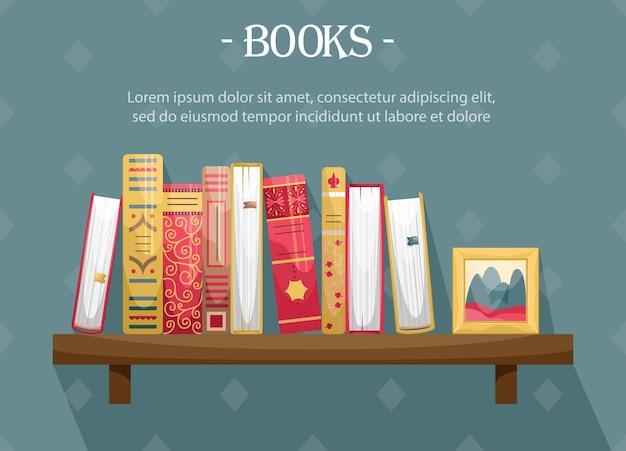 Boeken met omslagen in retrostijl op een boekenplank aan de muur met een fotolijst.