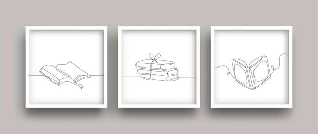 Boeken minimalistische posterset met één lijntekening
