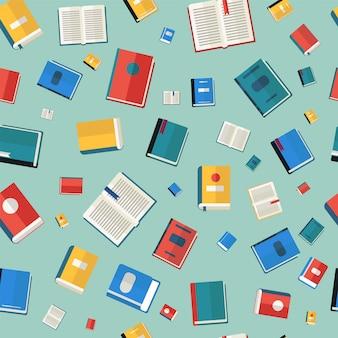 Boeken naadloos patroon. verschillende kleurrijke boeken