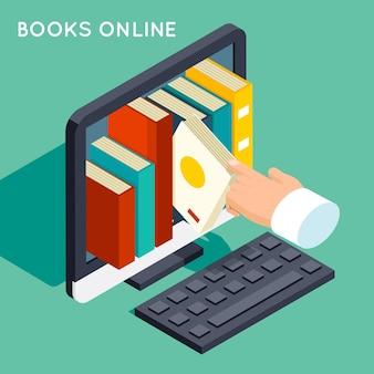 Boeken online bibliotheek isometrische 3d platte concept. internetkennis, web online, studietechnologie, computerscherm,